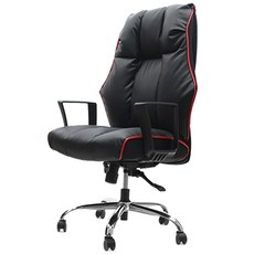 의자명가 타이탄1 일반좌판 사각팔걸이 의자, 블랙 + 레드