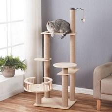 우드박스 고양이 다층 캣타워 스크래쳐 클라이밍 캣휠 놀이터 DIY 소형 투명해먹 구름다리 캣폴, A06