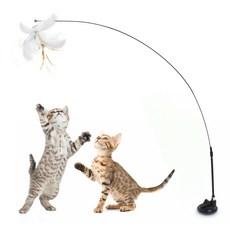 펫츠몬 고양이 플라잉 롱 와이어 멀티고정 깃털 낚시대, 랜덤발송, 1개