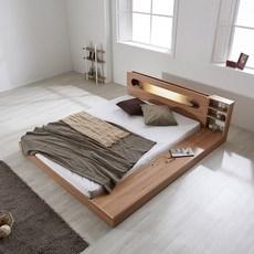 파로마 에반 LED 저상형 침대/수납형 퀸(Q)_40T라텍폼스+방문설치, 오크