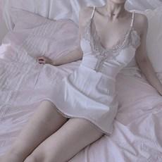 paloli 여성 섹시투명한 꽃무늬 슬립 잠옷 메이드복