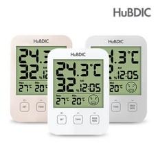 휴비딕 디지털 온습도계 HT-7 시계 아이콘 표시, 1)화이트